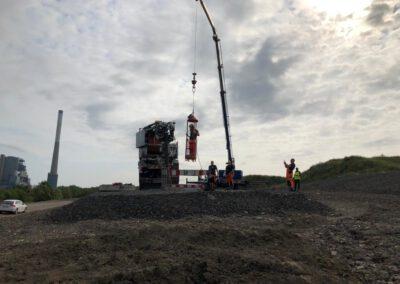 Baustellenbericht Bodenbender Dommel Ablassen in den Schacht